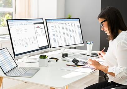 Woman doing accounting
